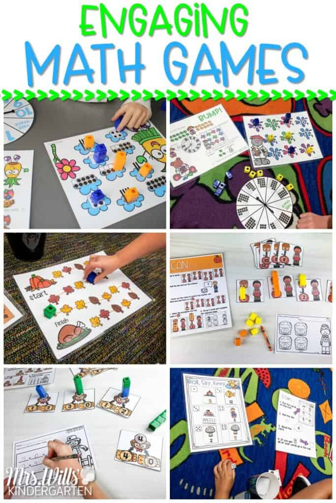 Engaging math games for kindergarten and first grade that give students the opportunity to practice basic number skills including numeral recognition, number bonds, addition and subtraction, ten frames, shapes, and more. #mathgames #mathfluency #mathcenters