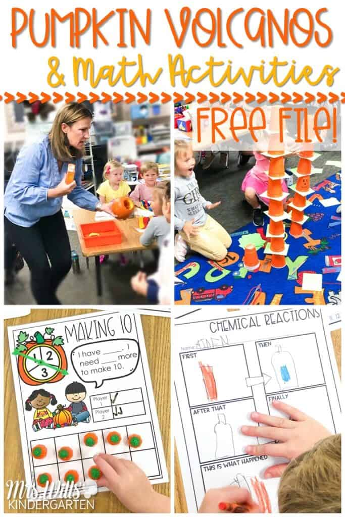 Pumpkin experiment for your kindergarten classroom. Your students will have so much fun with this pumpkin volcano experiment with math activities to practice comparing numbers and making 10. A shared reading aloud idea, too! #pumpkinexperiment #pumpkinvolcano #octoberlessonideas #pumpkinmathactivities