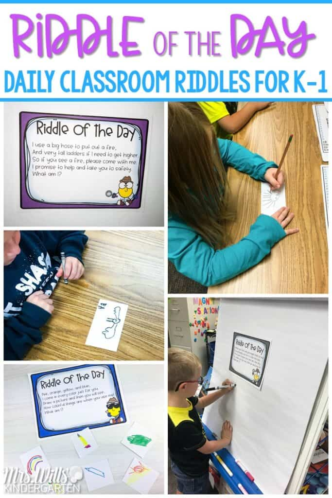 These daily classroom riddles for kindergarten and first grade will get your students excited each day as they guess the answer to fun monthly-themed riddles. #classroomriddles #riddleoftheday