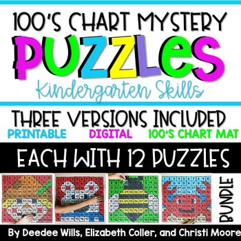 100's Chart Mystery Puzzles Kindergarten-Bundle 1