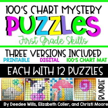 100's Chart Mystery Puzzles Year First Grade-BUNDLE 1