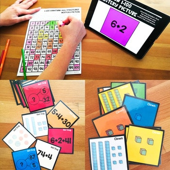 100's Chart Mystery Puzzles Year First Grade-BUNDLE 2