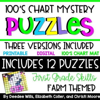 100's Chart Mystery Puzzles Year First Grade-Farm 1