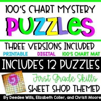 100's Chart Mystery Puzzles Year First Grade-Sweets 1