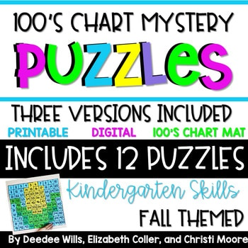 100's Chart Mystery Puzzles Year Kindergarten-Fall 1