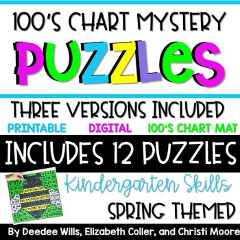 100's Chart Mystery Puzzles Year Kindergarten-Spring 1