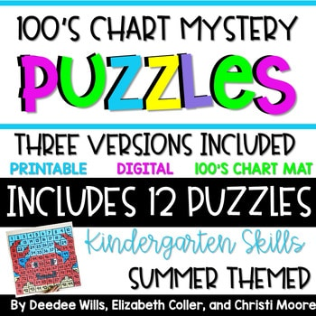 100's Chart Mystery Puzzles Year Kindergarten-Summer 1