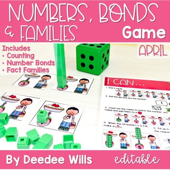 Math Games: Numbers, Number Bonds, and Fact Families | April (editable) 1