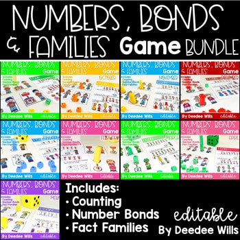 Math Games: Numbers, Number Bonds, and Fact Families | Bundle 1