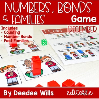 Math Games: Numbers, Number Bonds, and Fact Families | December (editable) 1