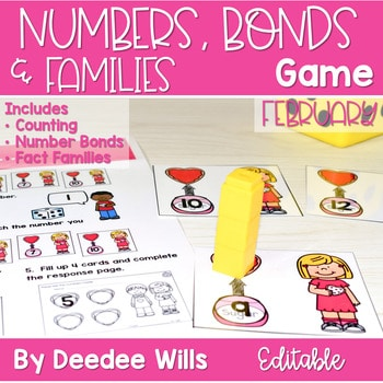 Math Games: Numbers, Number Bonds, and Fact Families   February (editable) 1