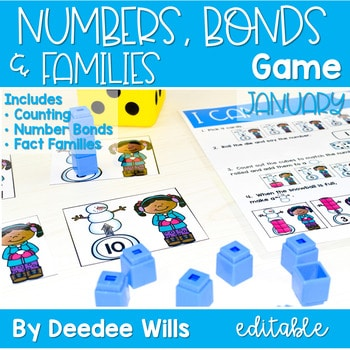 Math Games: Numbers, Number Bonds, and Fact Families | January (editable) 1