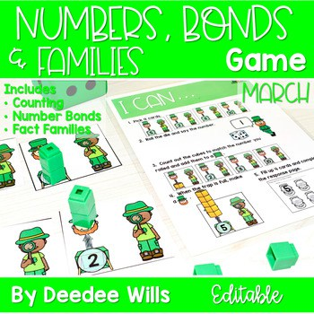 Math Games: Numbers, Number Bonds, and Fact Families | March (editable) 1