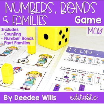 Math Games: Numbers, Number Bonds, and Fact Families | May (editable) 1