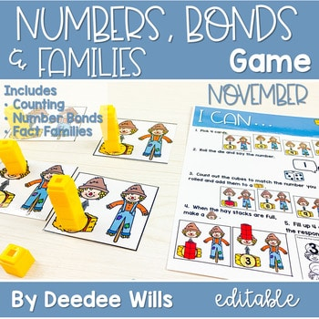 Math Games: Numbers, Number Bonds, and Fact Families | November (editable) 1