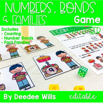 Math Games: Numbers, Number Bonds, and Fact Families | September (editable) 1