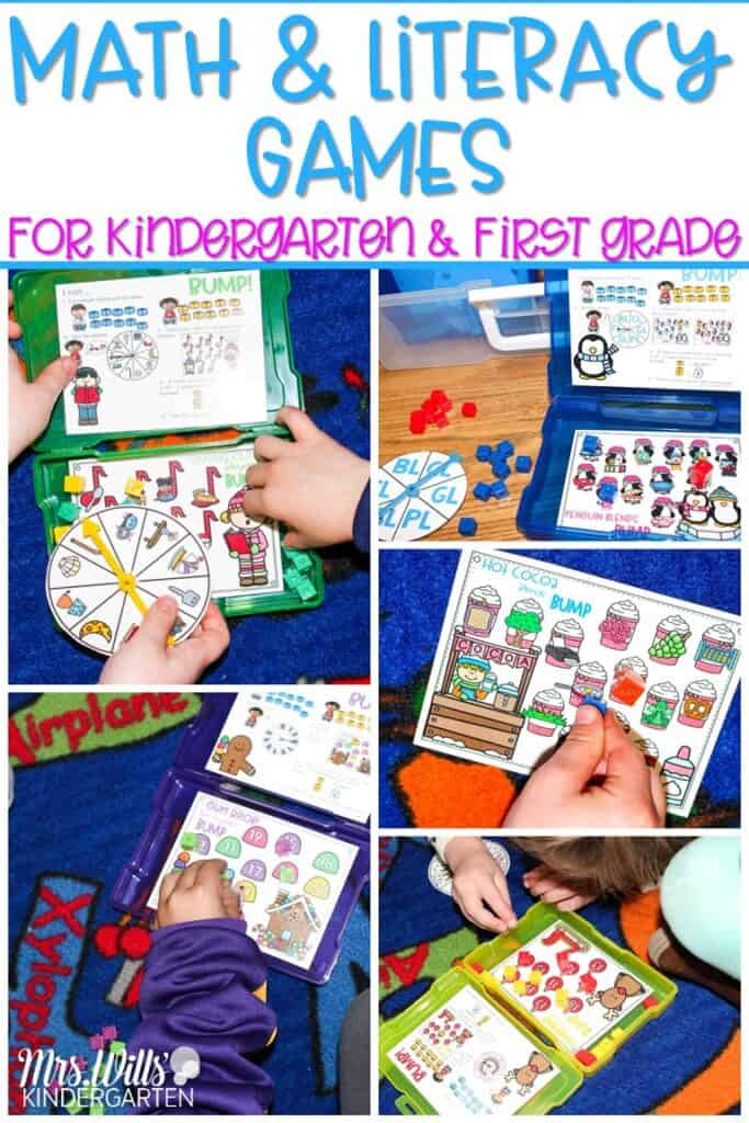 Math and literacy games for kindergarten and first grade. Monthly themed games that are perfect for centers and stations. They also work great as a small group activity. #mathandliteracygames #bumpgames #centerideas