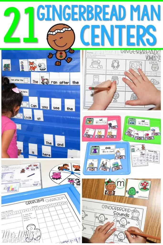 21 Gingerbread Man center activities to practice math and literacy skills in kindergarten and first grade. Easily differentiate your student centers with these fun activities. #gingerbreadmancenteractivites #gingerbreadactivities #kindergartencenters #firstgradecenters