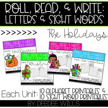 Roll and Write: Editable Worksheets Bundle | Holidays 1