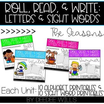Roll and Write: Editable Worksheets Bundle | Seasons 1