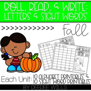 Roll and Write: Editable Worksheets   Fall 1