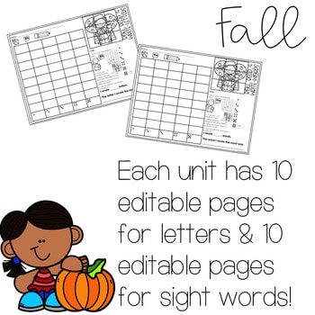 Roll and Write: Editable Worksheets   Fall 2