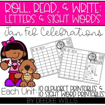 Roll and Write: Editable Worksheets | January & February Celebrations 1