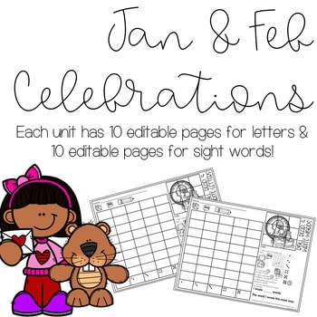 Roll and Write: Editable Worksheets | January & February Celebrations 2