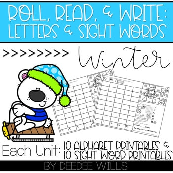 Roll and Write: Editable Worksheets | Winter 1