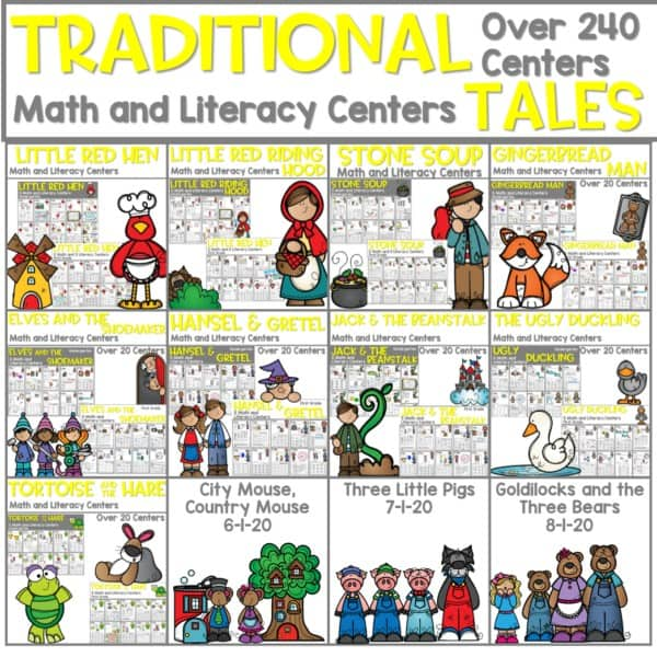 Traditional Tales | Literacy Centers and Math Centers Growing Bundle 1