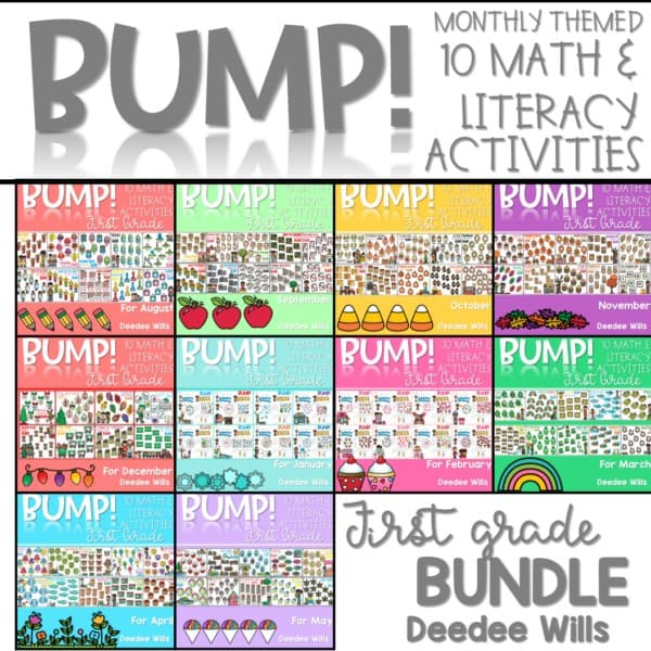 BUMP Games Monthly Math and Literacy First Grade | BUNDLE 1