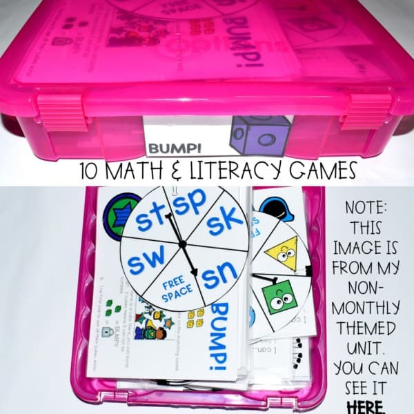 BUMP Games Monthly Math and Literacy First Grade | BUNDLE 4
