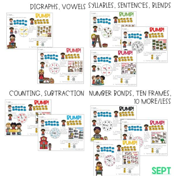 BUMP Games Monthly Math and Literacy First Grade | BUNDLE 12