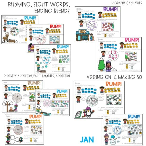 BUMP Games Monthly Math and Literacy First Grade | BUNDLE 8