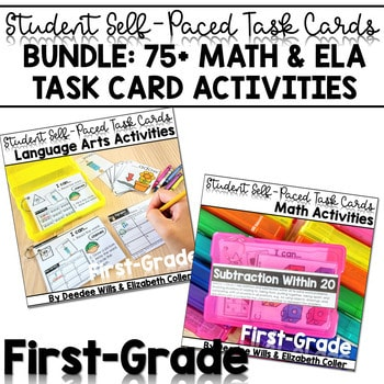 Task Cards for First Grade   Math and Literacy BUNDLE 1