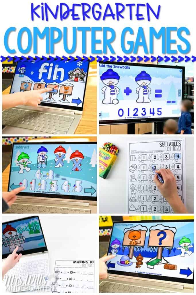 Kindergarten computer games that are perfect for centers or as a whole group activity on your interactive whiteboard. Students practice various math and language arts skills. Exit tickets for each activity are also included! #kindergartencomputergames #computercenters #technologyinkindergarten
