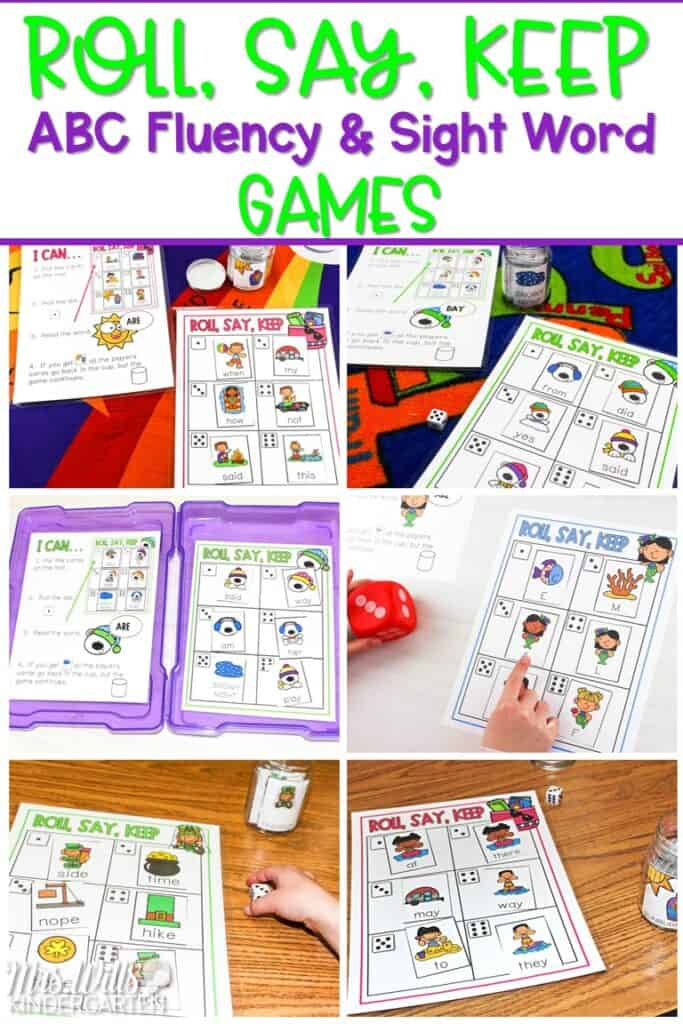 Sight Word Games! ABC fluency and sight word games for kindergarten and first grade. This editable game is great for literacy centers! With a variety of themes, this game can be played all year long. #sightwordgames #rollsaykeep #literacycenterideas