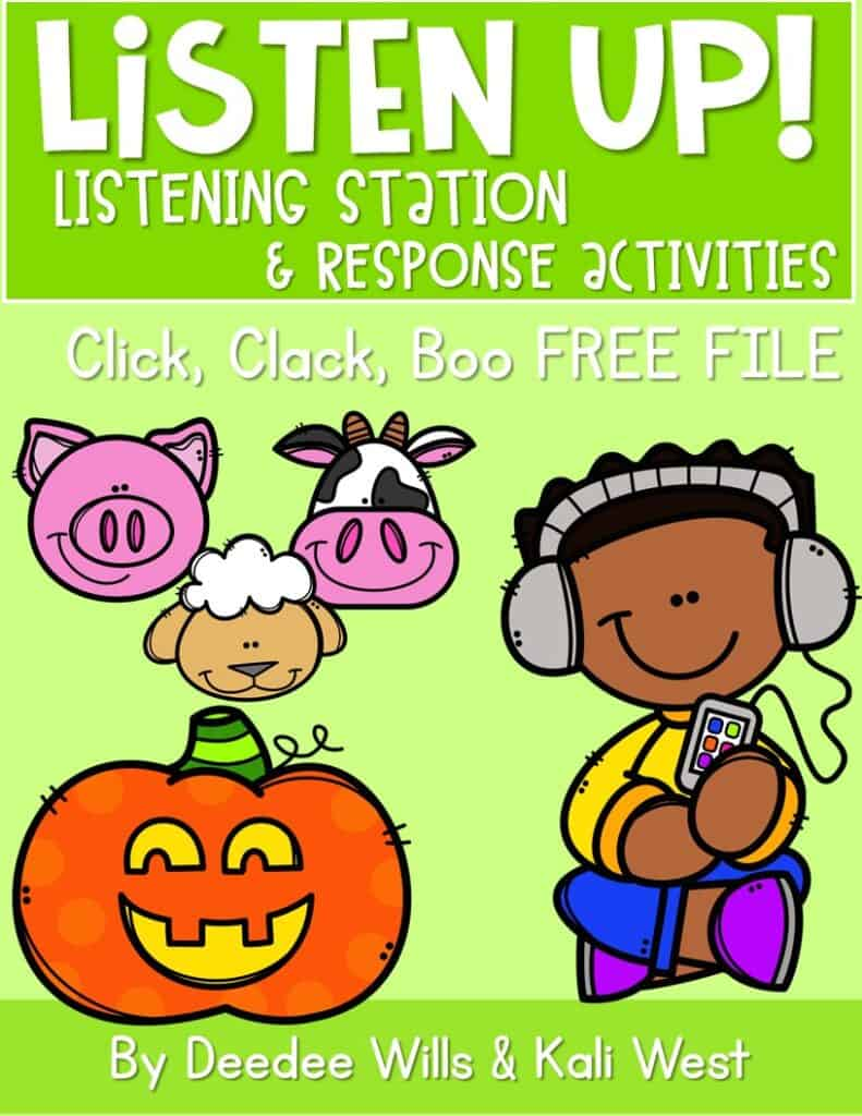 Listening center activities for kindergarten. Build independence and rigor with listening response sheets for your favorite Doreen Cronin (Click, Clack...) books. Free File too!