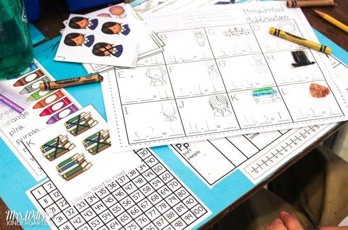 President Day Center Ideas for Kindergarten