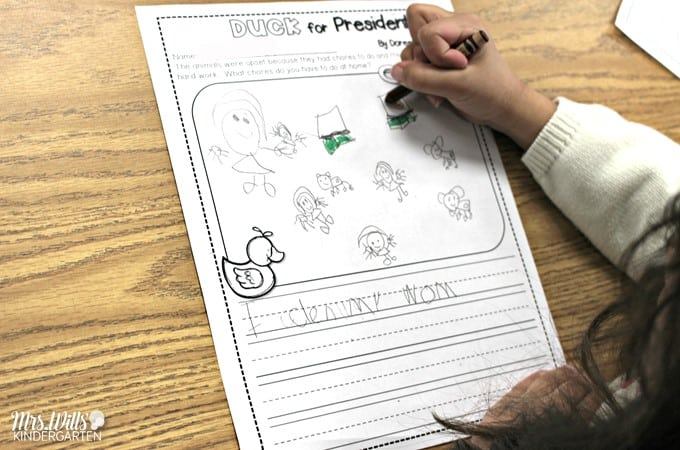 Duck for President activities for kindergarten with Free President's Day Math Game. Fun ideas for your classroom. Reading, writing, plus center ideas!