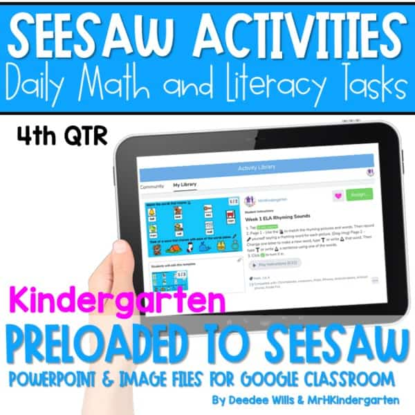 SEESAW 10 Week Math & Literacy Tasks for Distance Learning | Kindergarten 1