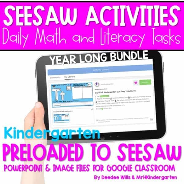 SEESAW Math & Literacy Tasks for Distance Learning | Kindergarten BUNDLE 1
