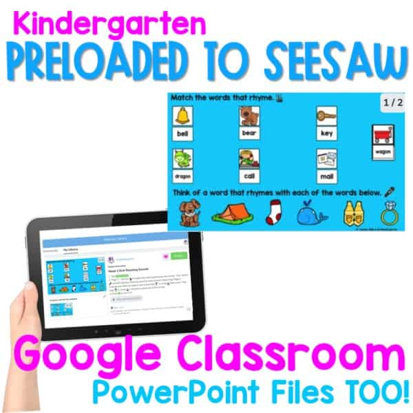 SEESAW 10 Week Math & Literacy Tasks for Distance Learning | Kindergarten 3