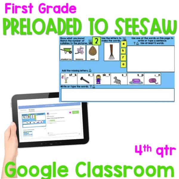 SEESAW 10 Week Math & Literacy Tasks for Distance Learning | First Grade 3