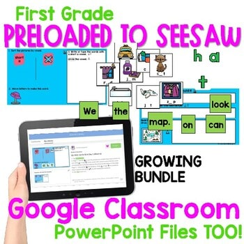 SEESAW Math & Literacy Tasks for Distance Learning | First Grade BUNDLE 2