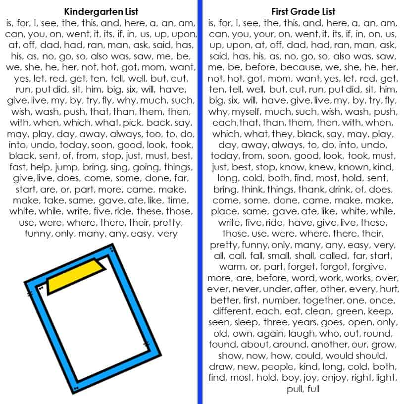 Kindergarten sight wordsand first grade sight words