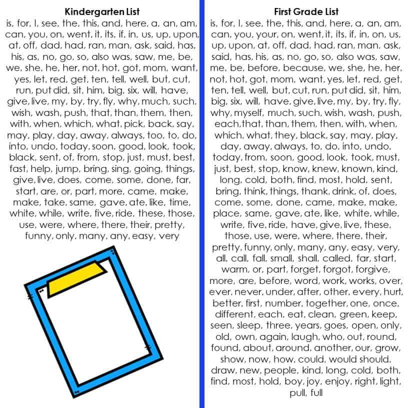 Kindergarten sight wordsand first grade sight words