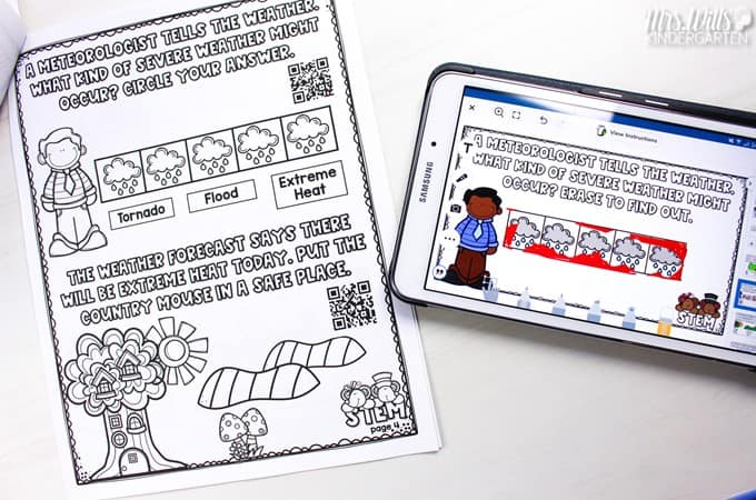 Digital STEM activities for kindergarten and first grade to tie literacy in with science. Seesaw preloaded activities, Google version, and a printable book included.