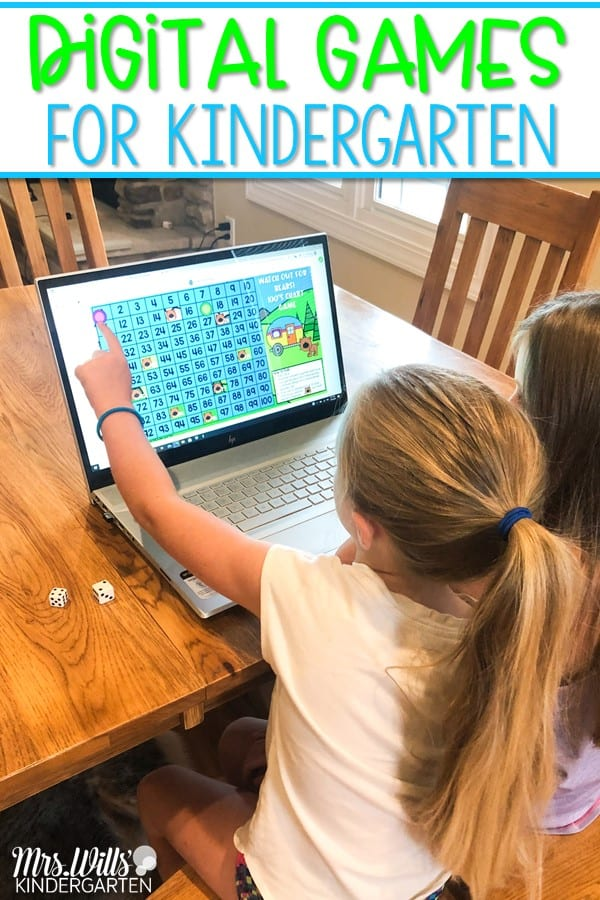 Digital games for kindergarten. Great for distance learning and classroom use, too! Preloaded to Seesaw and also available for Google Classroom.