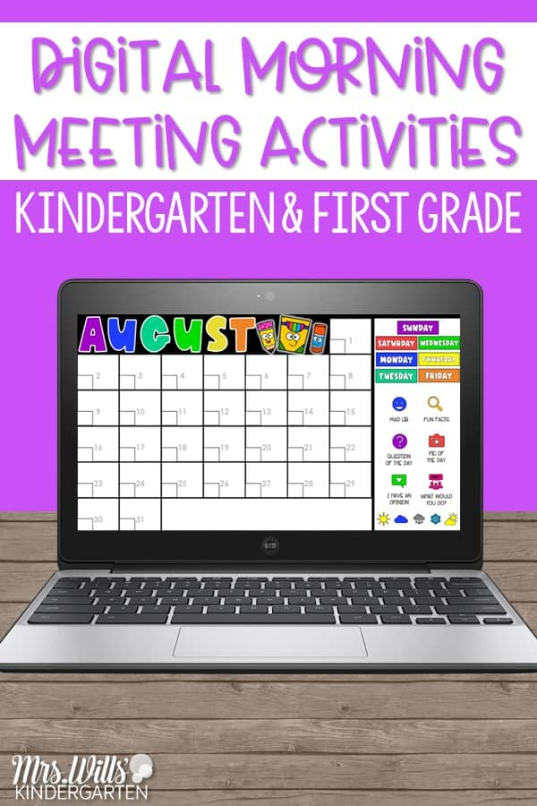 Digital morning meeting ideas for kindergarten and 1st grade. Monthly calendar and daily activities to use in the classroom or for distance learning.